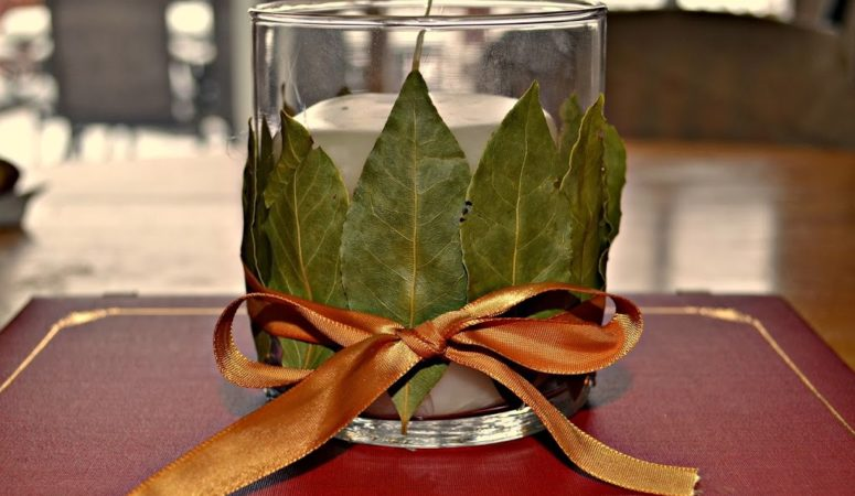 Diy Bay Leaf Candle Holder