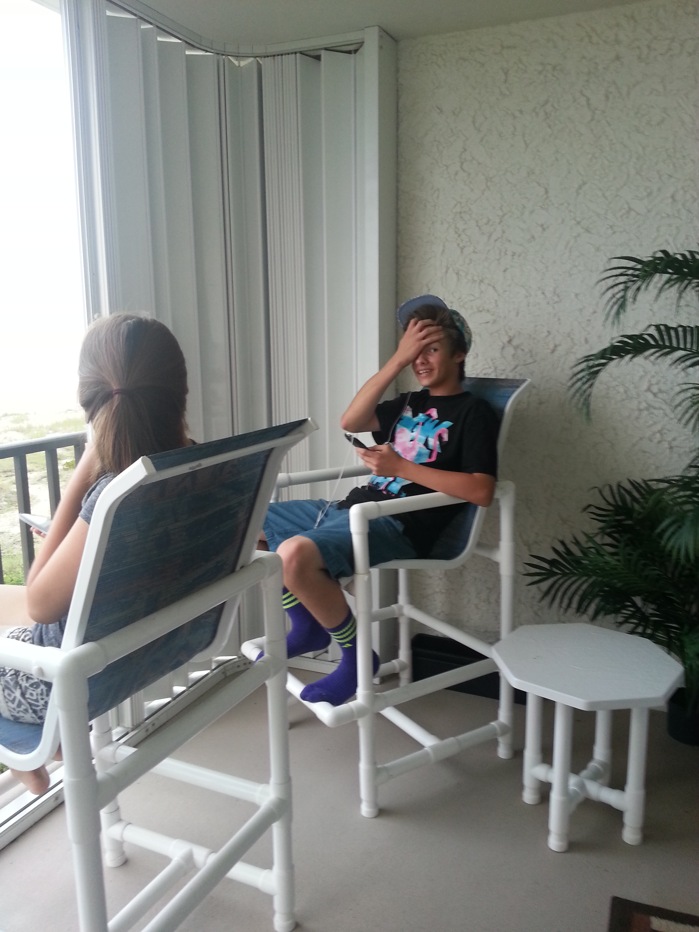Kids chilling on the balcony!